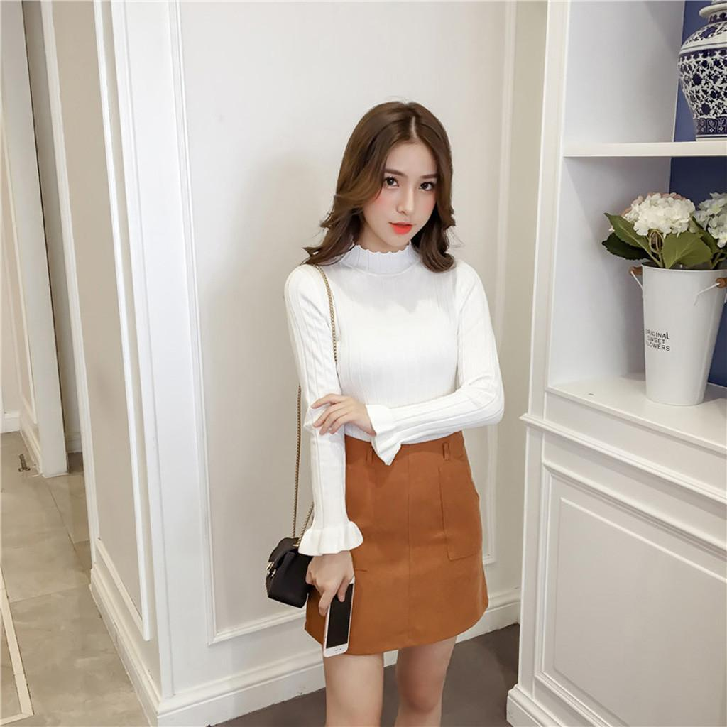 Sweater Women Fashion Ladys Autumn Knitted Sweater Bell Sleeve Turtleneck Jumper Casual Style Pull Femme Nouveaute 2019