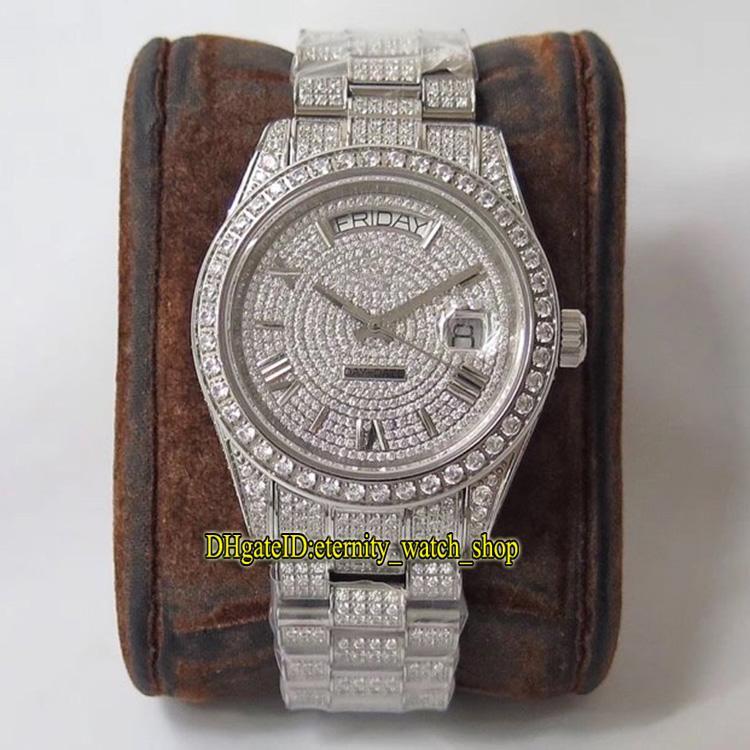 TWF 126333 228349 228396 Gypsophila línea Diamante Diamantes Reloj para hombre automático ETA A2836-2 904L acero heló hacia fuera la caja hacia fuera helado Relojes completa