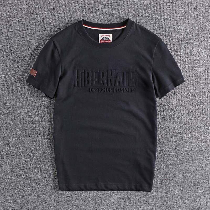 2020 nouvelle mode motif en relief lettre et manches occasionnels T-shirt col à manches courtes hommes européens et américains un demi-tour hauts T200527