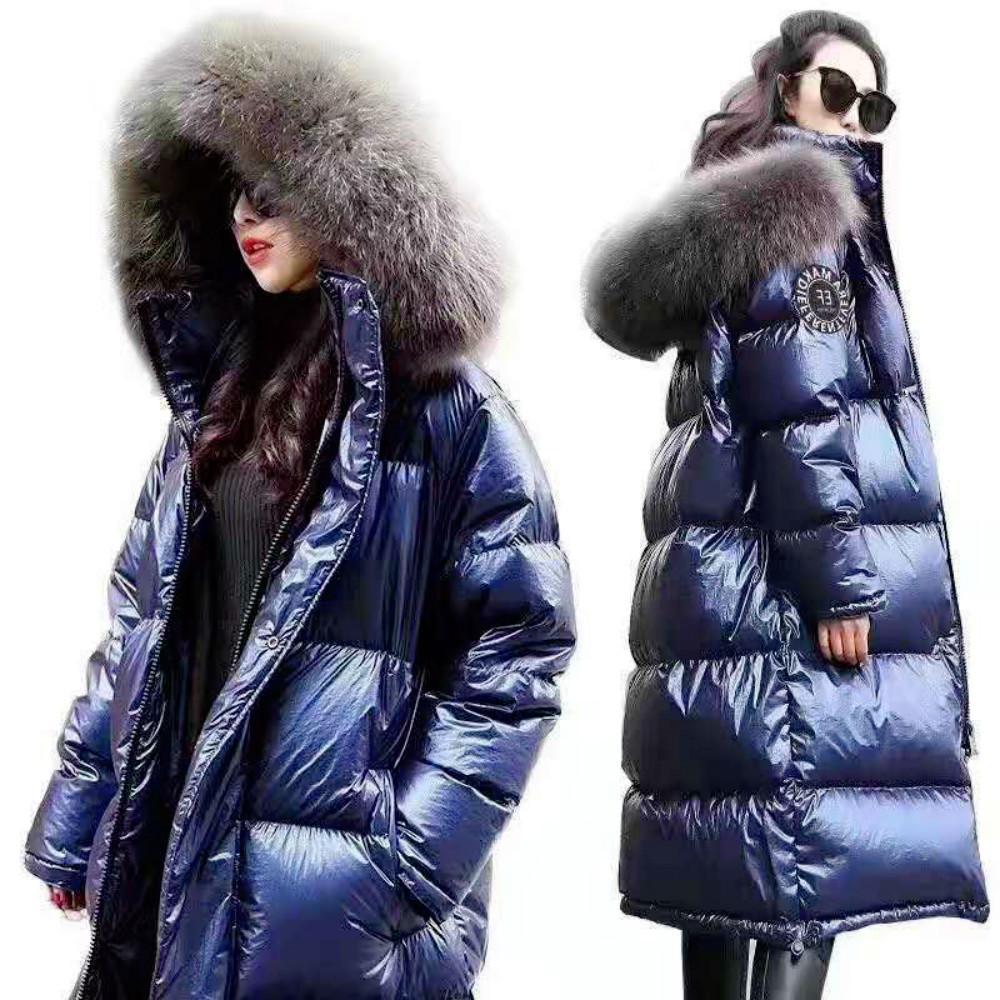 Diseñador mujer Moda Parkas capa del invierno larga chaqueta de la capa de las mujeres manera del invierno DownParkas gruesa señora Down Jacket capa de cuero brillante