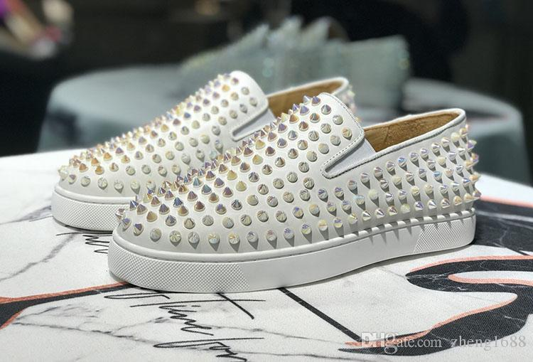 Top Quality Designer Red Bottoms Sneakers Studs Spikes White Slipper Shoes Flats Luxury Red Bottoms For Men Women Party Casual Loafers