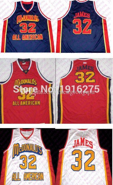 Lebron James # 32 McDonalds All American New Erkekler Basketbol Jersey Nakış Dikişli özelleştirme herhangi numarası ve adı Formalar