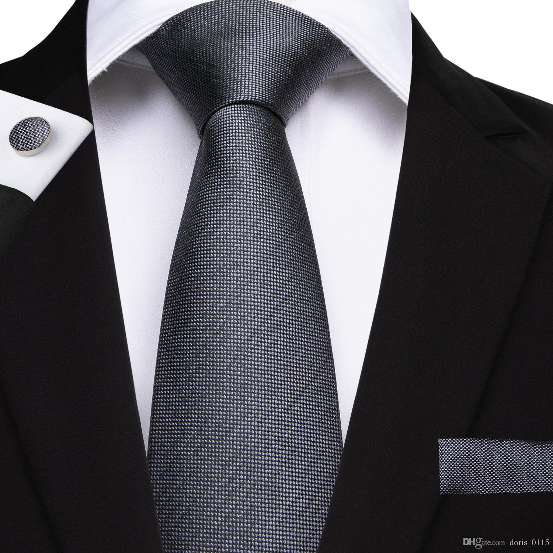 مرحبا التعادل الكلاسيكية الرجال الصلبة التعادل مجموعة الأزياء رمادي العلاقات العنق المنديل cufflinks ل بدلة رسمية الأعمال عارضة دعوى N-7142