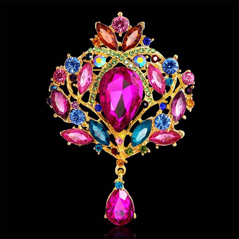 Las mujeres de diamantes usan broche nuevo diseño creativo mayorista personalizada de fábrica directamente venta broche de broche de diamantes de imitación