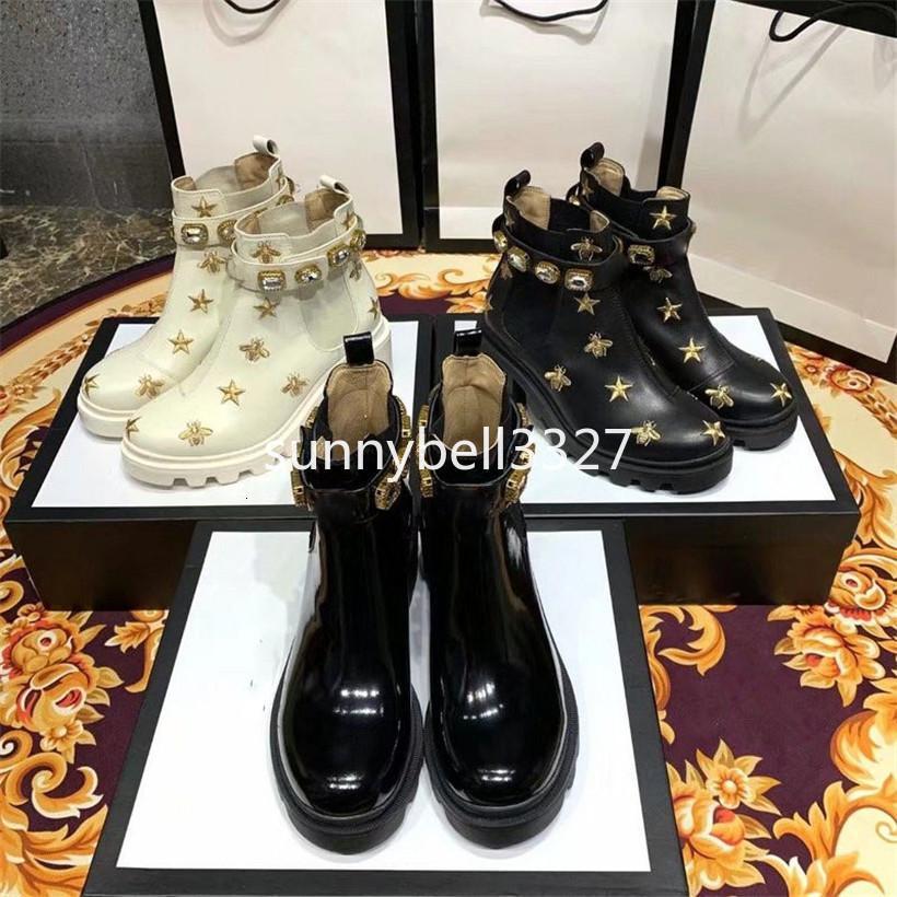 2.019 Feminino Martin botas com de Mulheres Caixa de viagem de couro bordado Botim com cinto Botas e botas para Calçados Femininos 1GG1
