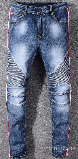Nuove strisce piedi jeans da uomo pieghe del ginocchio sottile creative ciclismo pantaloni di marca designer di abbigliamento di moda chiusura lampo dei pantaloni