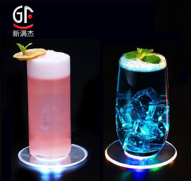 INS Direct Spot Transparent Luminous Coasters Multi-Color round Flash Coasters Bar Colorful Bottle Luminous Pad