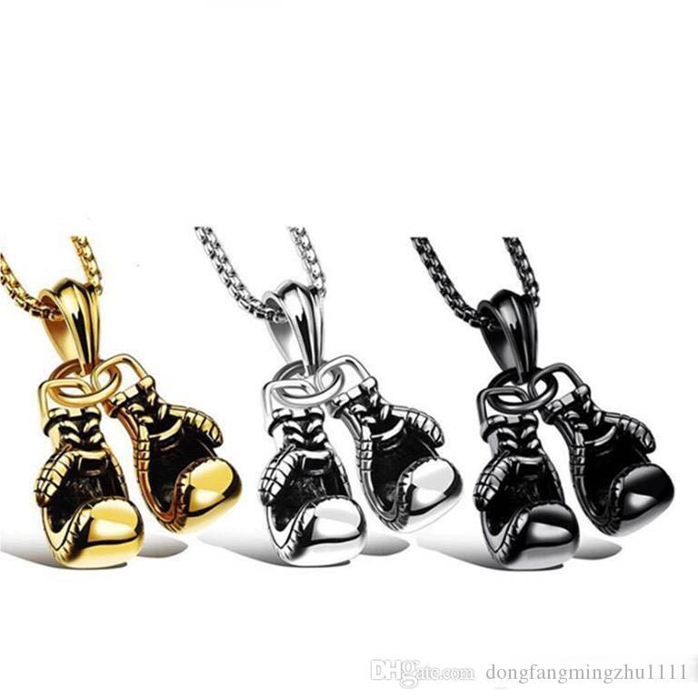 الهيب هوب مجوهرات مصمم قلادة رجالي الذهب قلادة قفازات الملاكمة الفاخرة بلينغ مغني الراب سلسلة التيتانيوم الصلب الهيب هوب الأسود فضة الملحقات