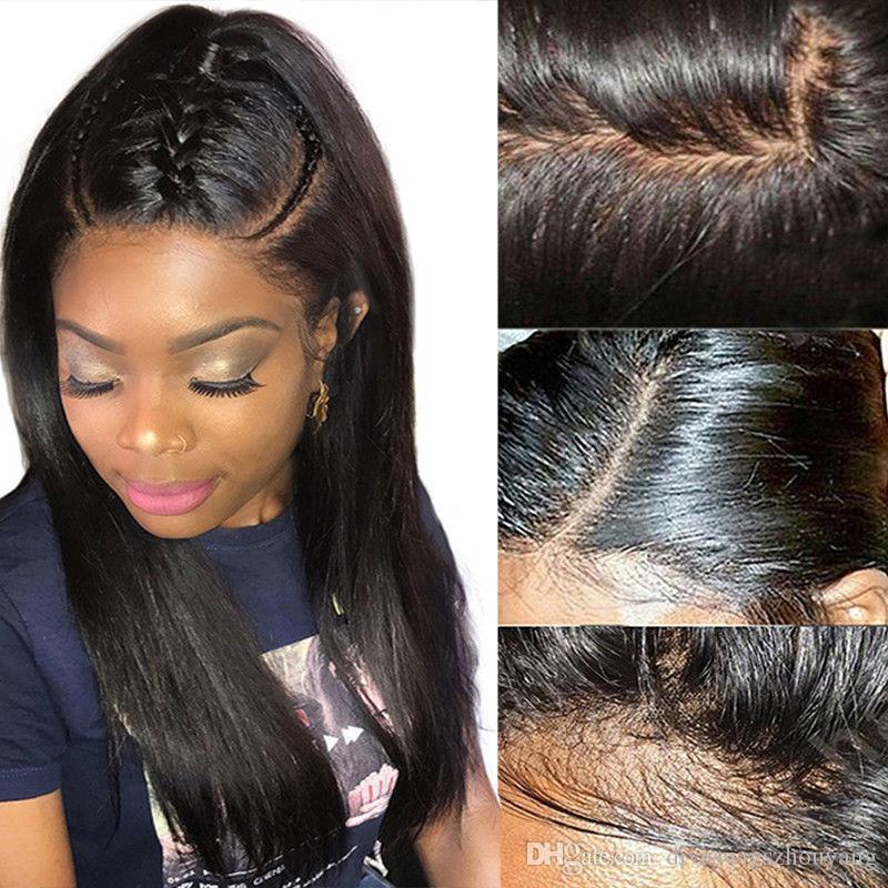 13X6 Peluca delantera de encaje 180% Densidad Recta 360 Frontal Cordón Pelucas de cabello humano Remy brasileño Finaliza completa Pre arrancado para mujeres negras