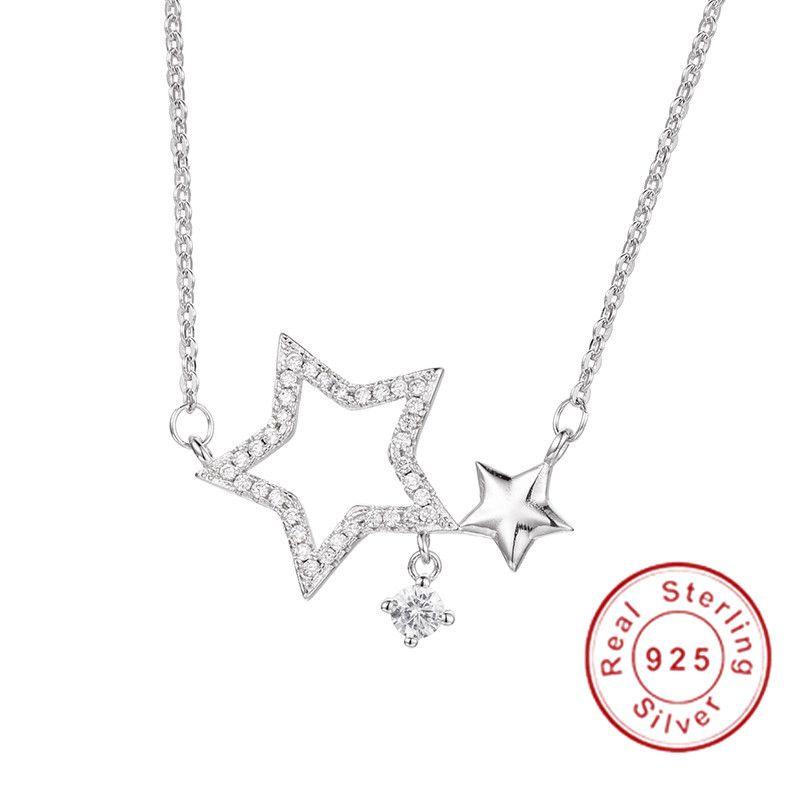 Marque 925 ronde en argent sterling 0.8ct SONA pendentif diamant Pentagram Collier de mariage de luxe Collier pour femmes fille Bijoux