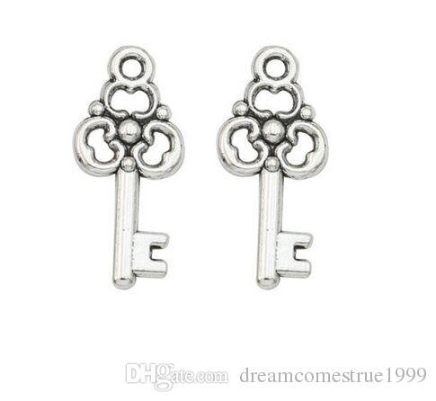 200 Unids / lote aleación encantos de la llave de plata antigua colgante para el collar joyería que hace hallazgos 22x10mm