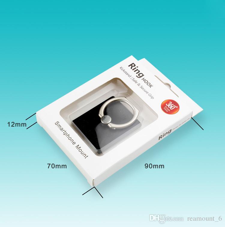 Blanc Packaging Paquet Boîte pour téléphone mobile Anneau Porte Béquille Stent en carton d'emballage avec insert Livraison gratuite