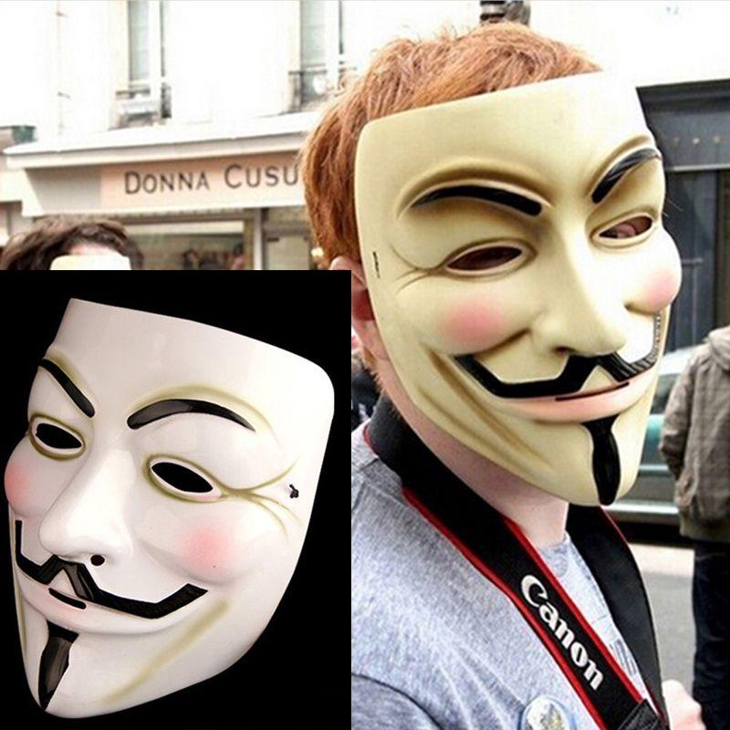 Partito di travestimento di Halloween V per Vendetta Mask mascherina mascherine Anonymous Guy Fawkes costume cosplay Film viso maschere horror spaventoso Prop