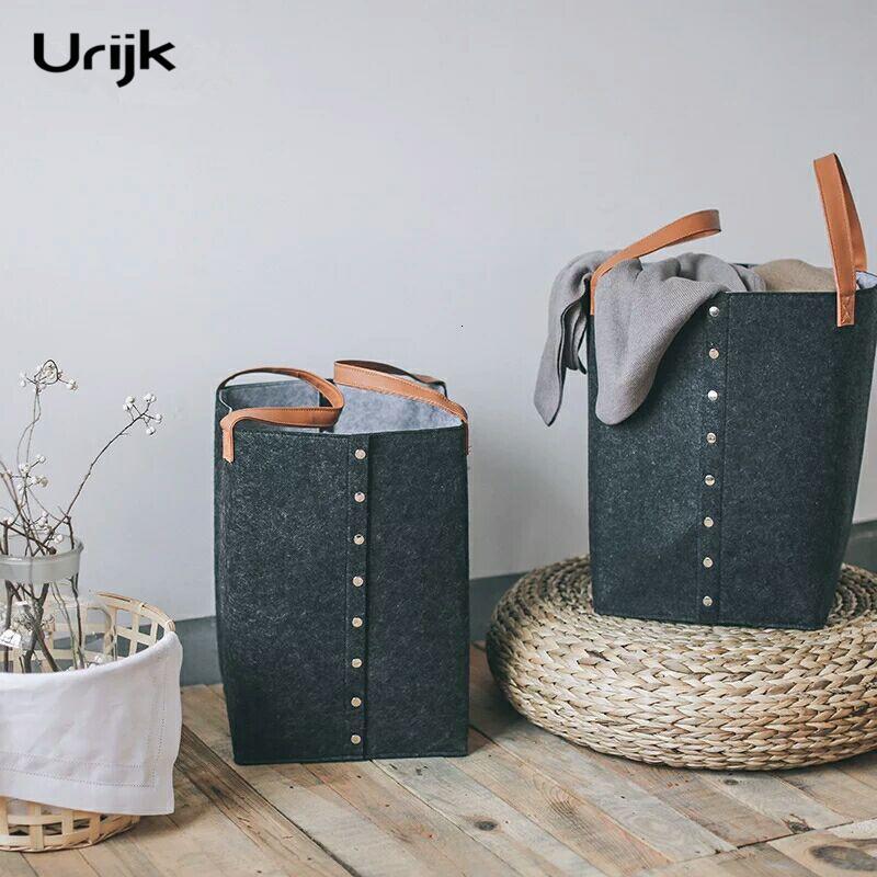 Urijk Panier à linge rangement pour les vêtements Organisateur Blanchisserie Bucket Organisateur de stockage Sacs à linge Paniers pour jouets avec Hamper T191102