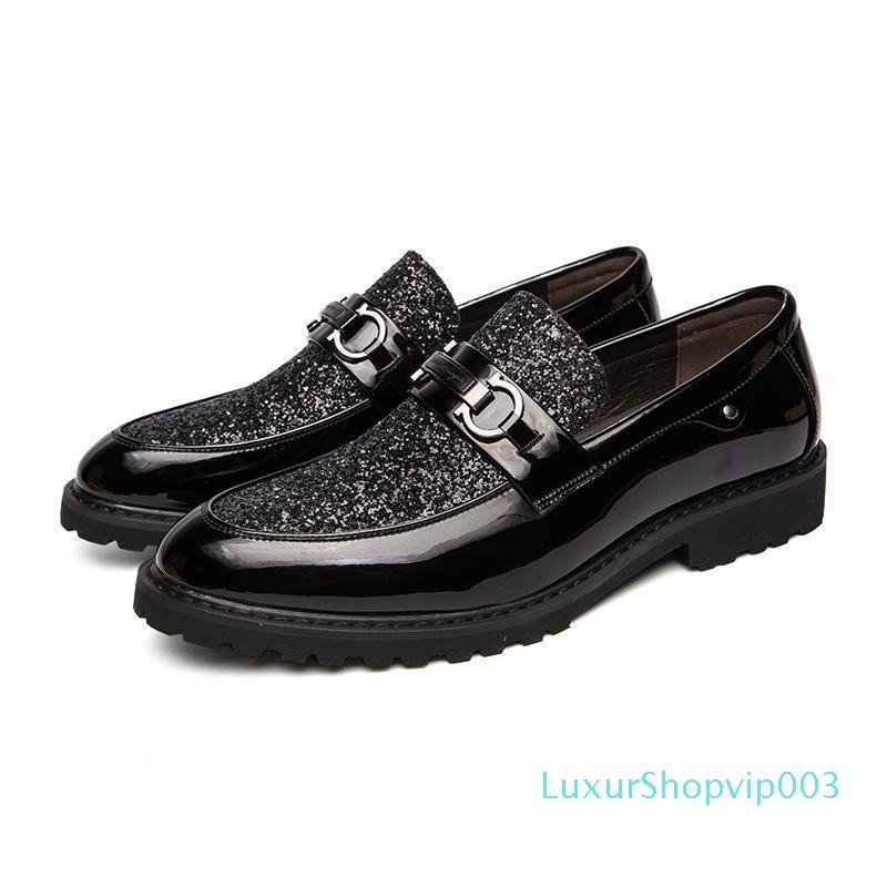 2019 uomini dei fannulloni del vestito da sposa di affari uomini di marca di scarpe traspiranti stile Banchetto paillettes oro maschio nero Scarpe Chaussure Homme L14 02