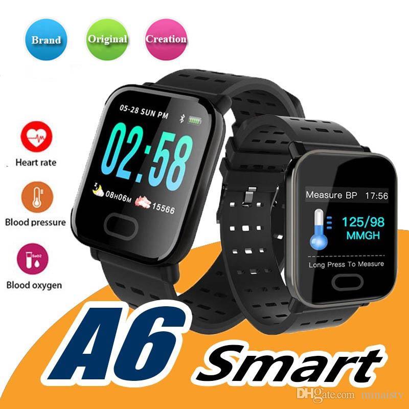 새로운 A6 손목 밴드 스마트 시계 스마트 터치 스크린 Smart Vallet을 장착 한 스마트 팔찌 폰 야외 스포츠 실행 Smartwatches