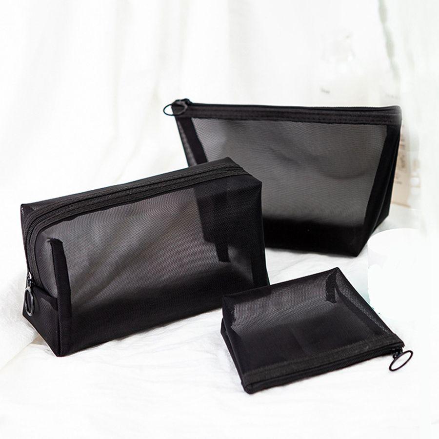 Borsa cosmetica trasparente nera Custodia per trucco portatile da viaggio Cerniera Trucco Organizzatore Custodia Custodia per toeletta RRA1881