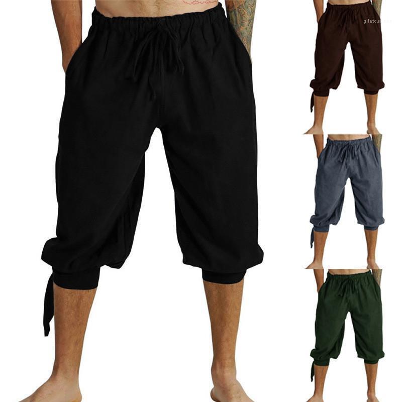 Estilo Casual Mens Vestuário Mens Designer Pants Verão cor sólida Relaxado Calças com cordão Capris pirata Viagem
