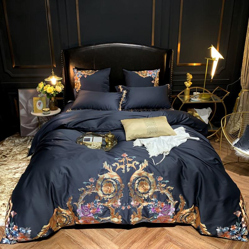 Ultra Soft Egyptian Cotton Navy Blue Bedding Set Queen King Size 4