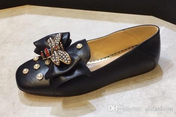 Brand Women cow leather Dress wedding Shoe Espadrilles loafers Lambskin Flats Casual Butterfly Pearl ballet shoes Horsebit Oxfords,35-41