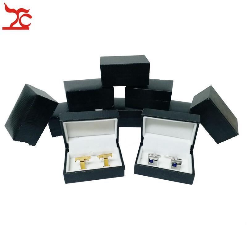Wholesale 10Pcs/lot Men's Cufflinks Tie Clips Package Storage Gift Case Black Cufflinks Box Special Paper Jewelry Organizer Box