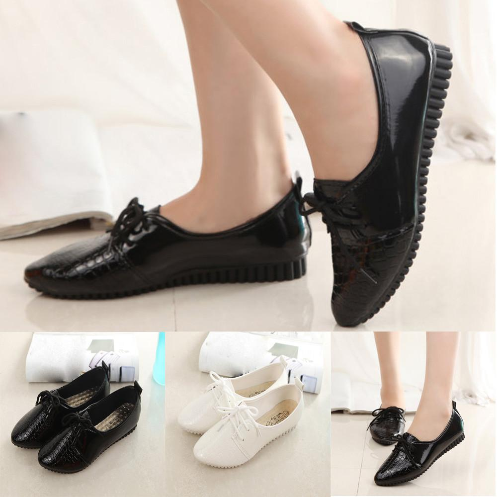 Women Casual Low Heel Slip On Round Toe Pumps Loafers Comfy Flat Shoes Fashion