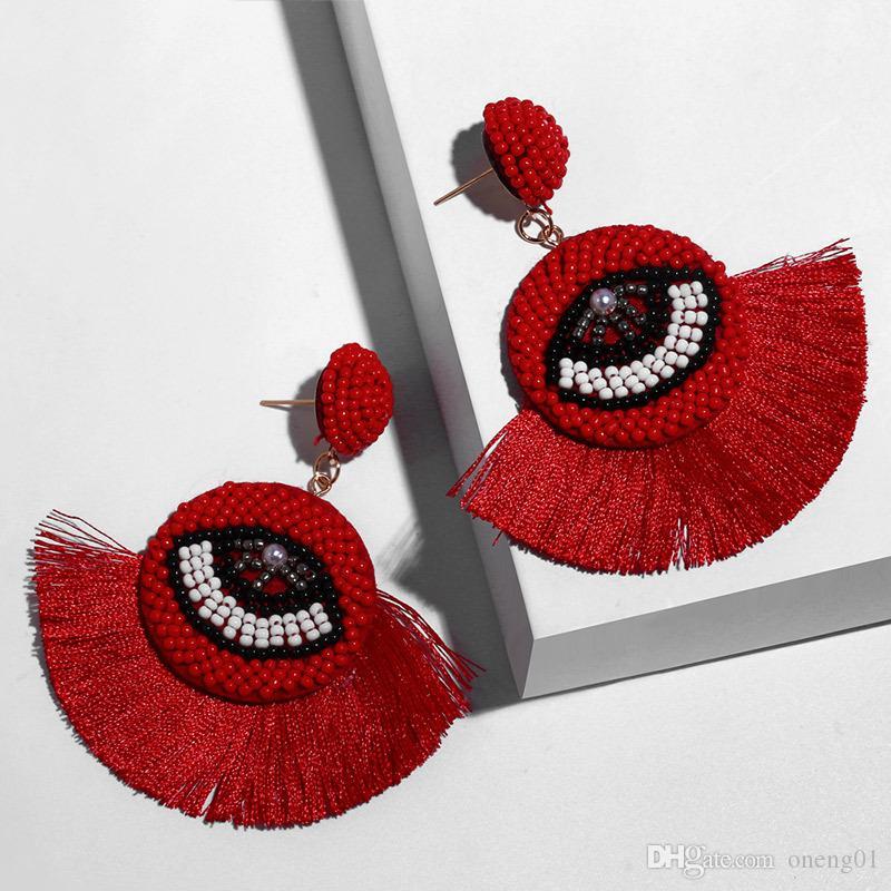 Ethnischer Bohemian Troddel baumeln Ohrringe für Frauen handgemachtes Übel Blue Eye Fringe-Tropfen-Ohrring-Kristall wulstigen Band-Ohrring Statement Schmuck