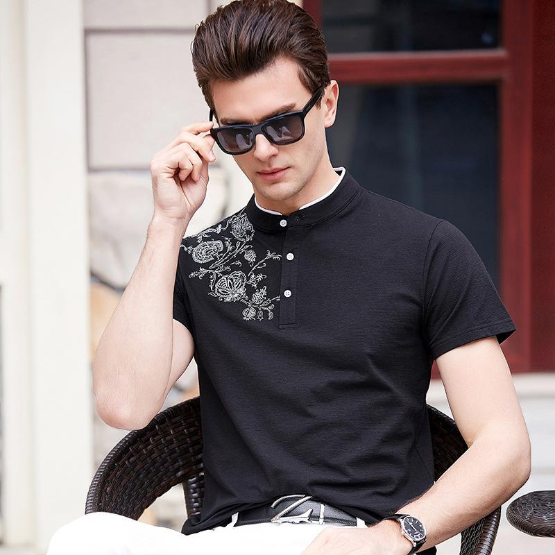 Pop2019 Short Sleeve T Pity Man Stand Lead Show Solicitude For Unlined Upper Garment Quinquagenarian Printing On Clothes Summer Men's Wear