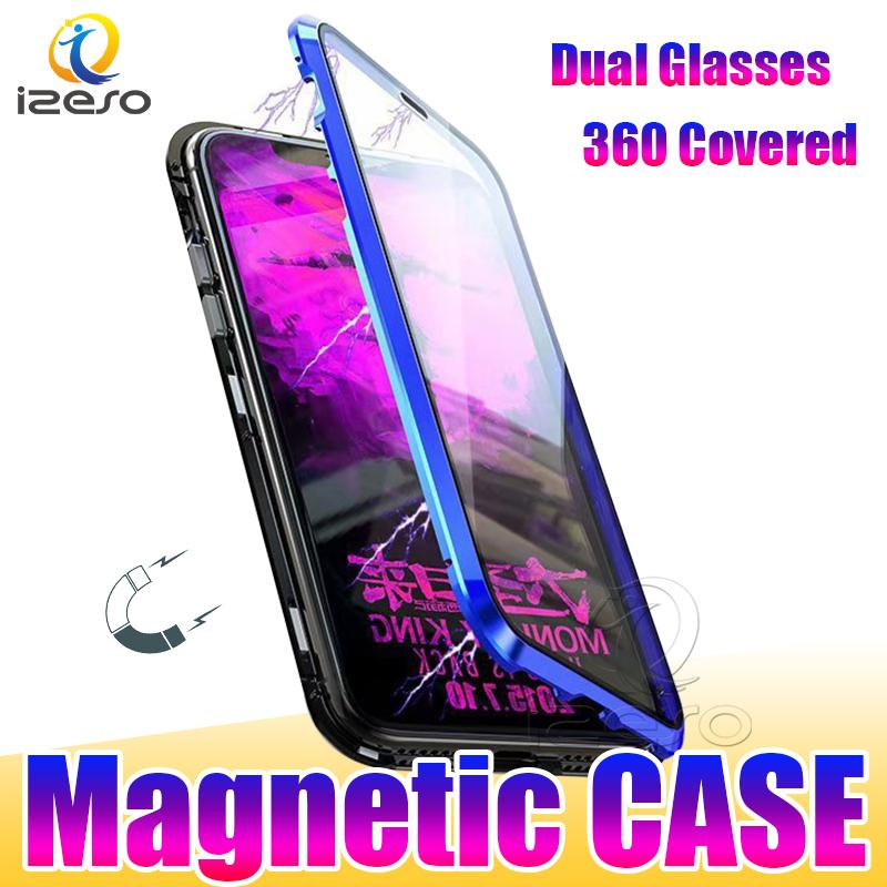 Double Glass Magnetic Adsorption Metal Mobile Phone Cases for iPhone 13 12 Pro Max 11 XR Samsung S21 Ultra with Aluminum Alloy Frame izeso