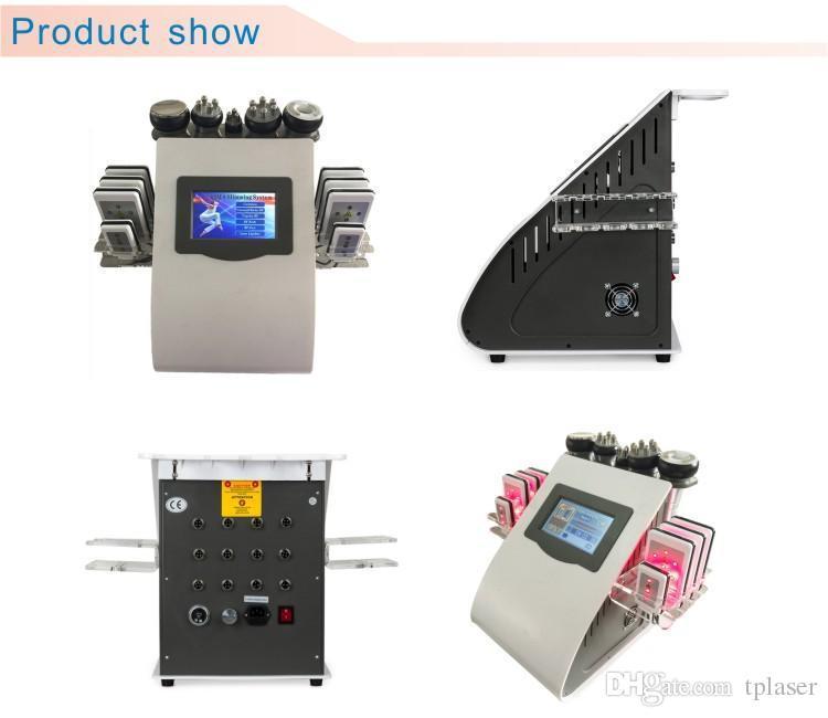 Indolore 8 Pads diode laser Lipo LLLT ultrasons 40K Cavitation minceur vide RF élimination de la graisse cellulite machine