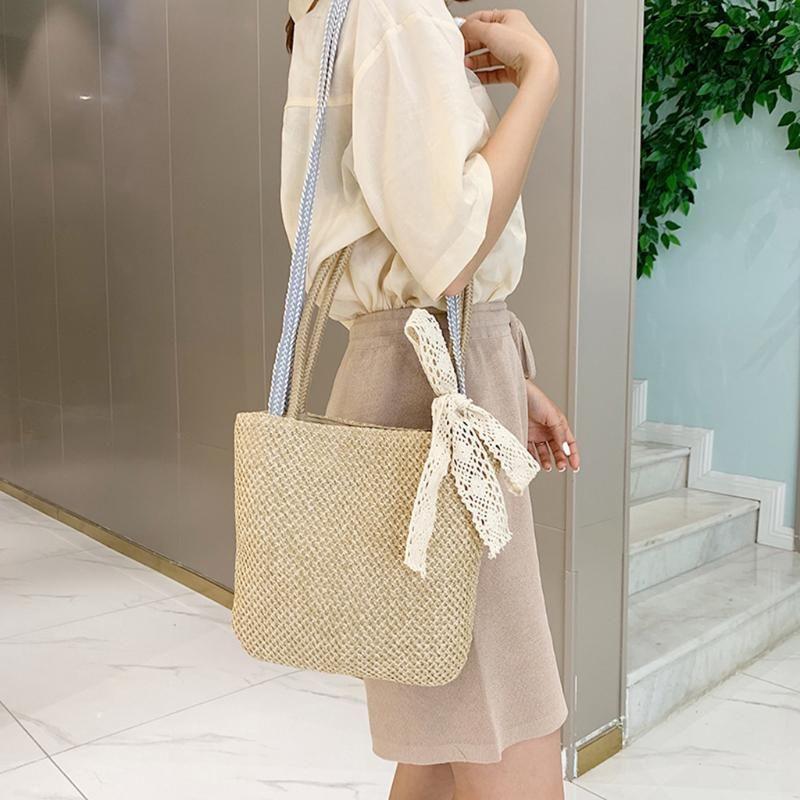 Women Handbag Summer Beach Bag Rattan Woven Handmade Knitted Straw Large Capacity Totes Women lace Shoulder Bag Bohemia bali