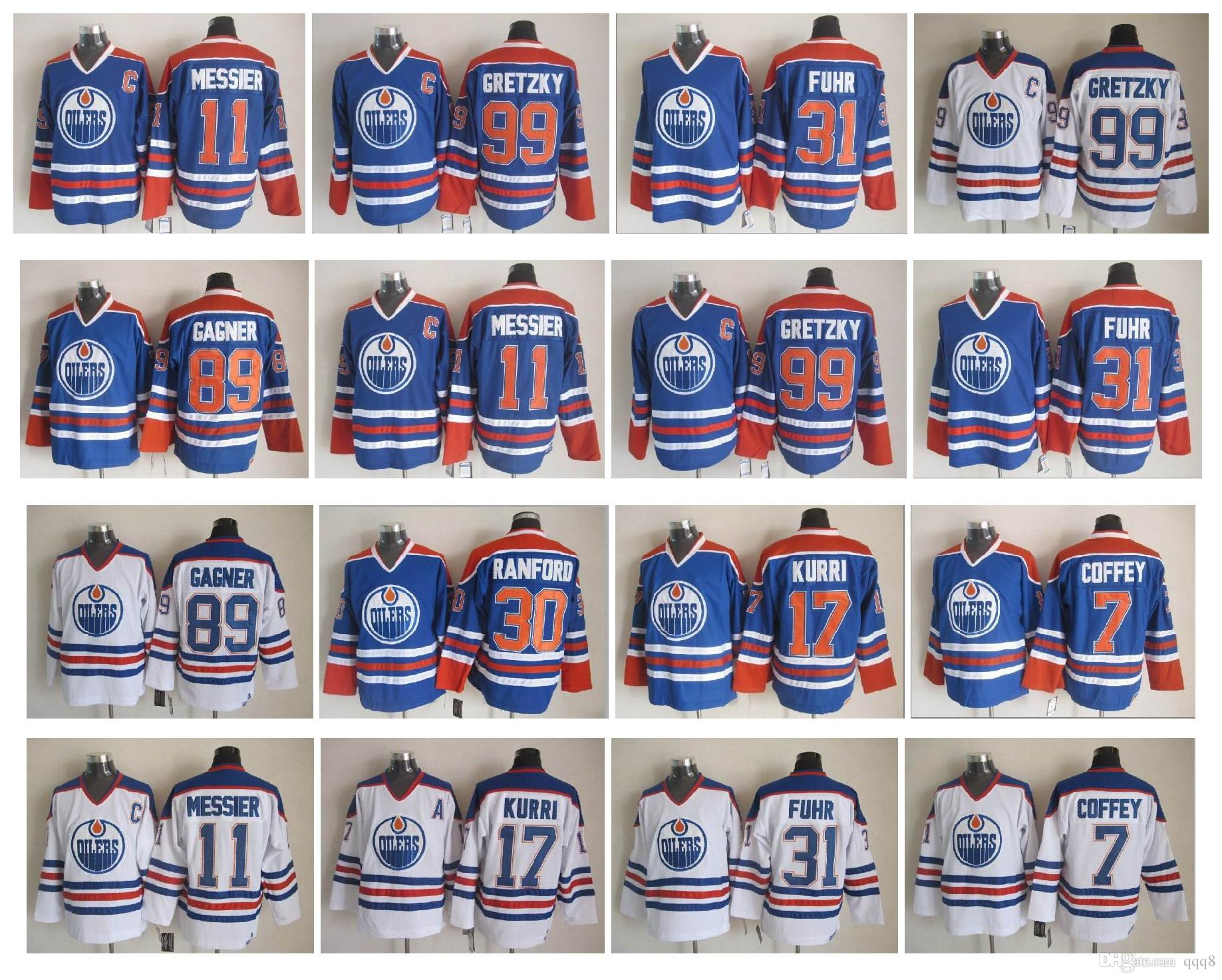 Vintage Edmonton Oilers Jersey 99 Wayne Gretzky 11 Mark Messier 31 Grant Fuhr 7 Paul Coffey 17 Jari Kurri 89 Sam Gagner Ranford Retro Hockey