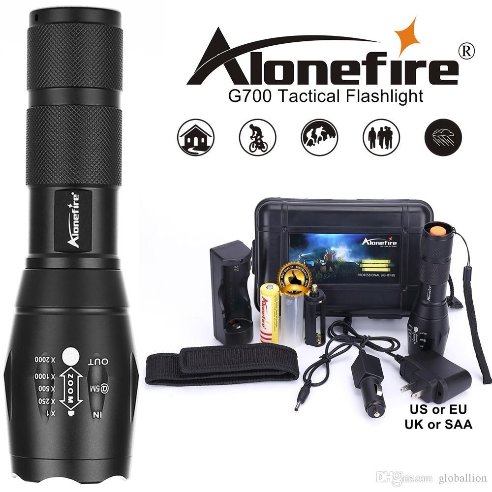 AloneFire G700 / E17 Cree XML T6 5000Lm LED de Alta Potência Zoom Tático Lanterna LED lanterna lanterna de viagem de Viagem 18650 bateria Recarregável