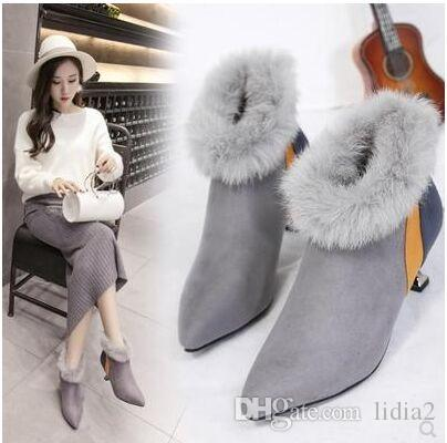 New Arrival Hot Sale Specials Super Fashion Influx Cowgirl Large Size Noble Mix Color Pointed Stiletto Rabbit Hair Heels Ankle Boots EU35-39