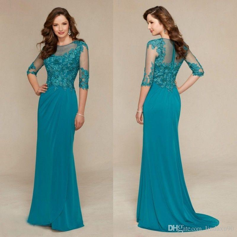 Cheap Floor Length 2019 Mother Of the Bride Dresses 3/4 Long Sleeve Lace Beaded Wedding Guest Dresses Jewel Neck Evening Gowns