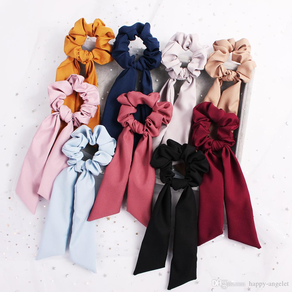 Streamer Hair Ring Fashion Ribbon Girl Elastic Hair Bands Scrunchies Horsetail Tie navy Vintage Women Headwear Hair Accessories 100pcs F325A