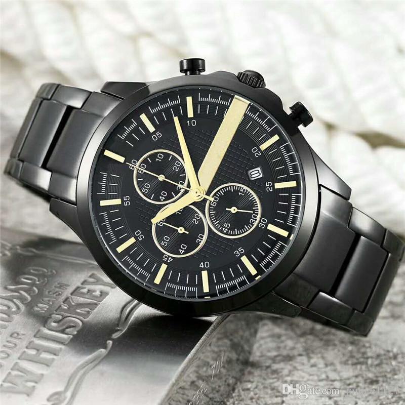 High quality Fashion Men Watch Top Brand Full Stainless Ar Steel Luxury Wristwatch Japan Quartz watch Silver Black Designer Business style