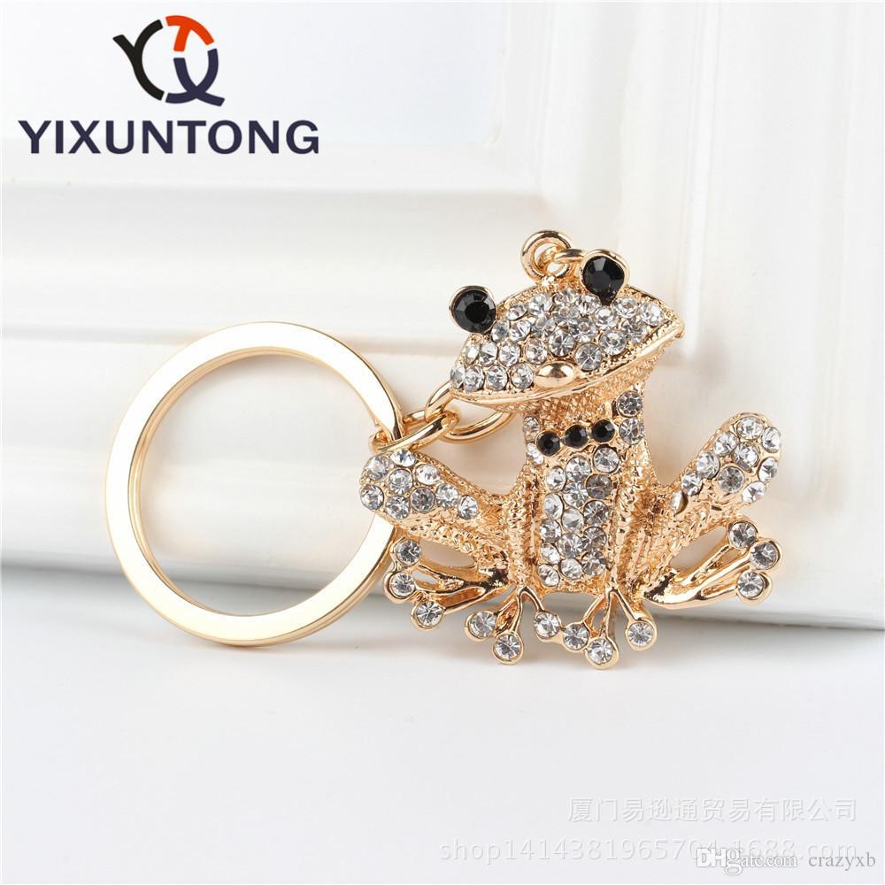 Lovely Frog Pendant Charm Rhinestone Crystal Purse Bag Keyring Key Chain Accessories Wedding Party Holder Keyfob Gift
