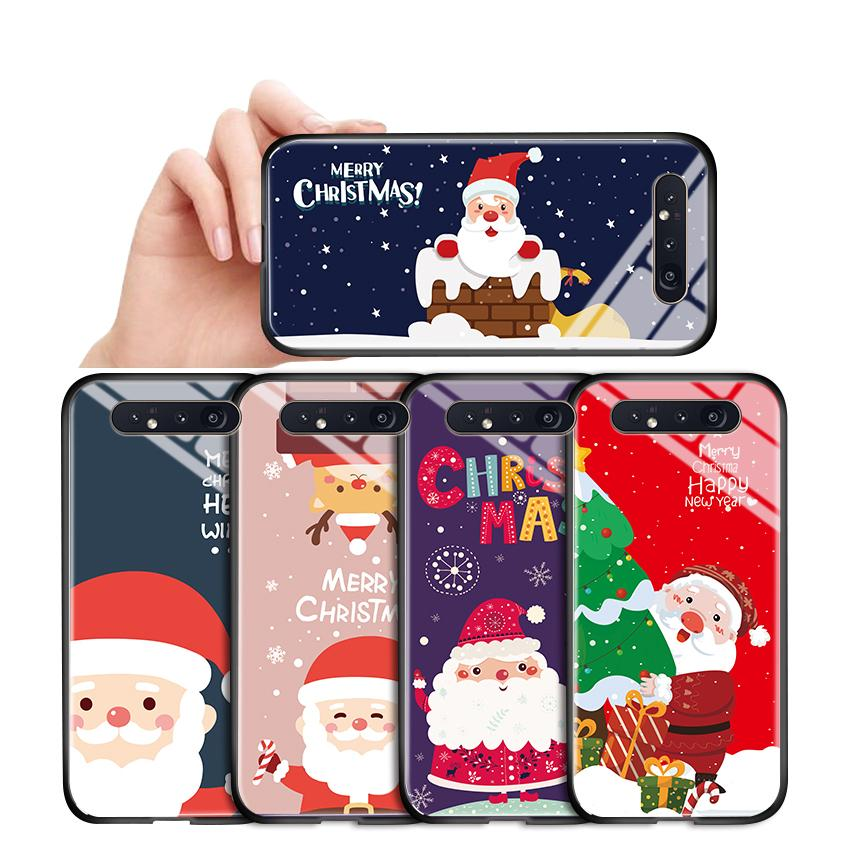 Pour Samsung Galaxy A8 A6 A7 2018 plus A750 A530 A730 antichocs Père Noël Cas de téléphone de Noël ELK Cerfs en verre trempé Boîtier couverture
