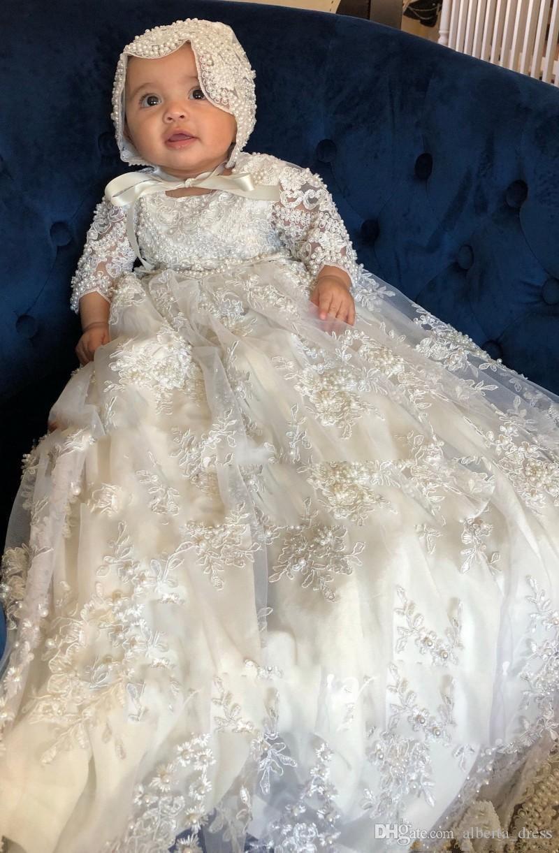 Красивые цветочные девочки платья с длинным рукавом Крещения для крещения для детских девочек Кружевные аппликации жемчуга Крещение Платья первого общения платье