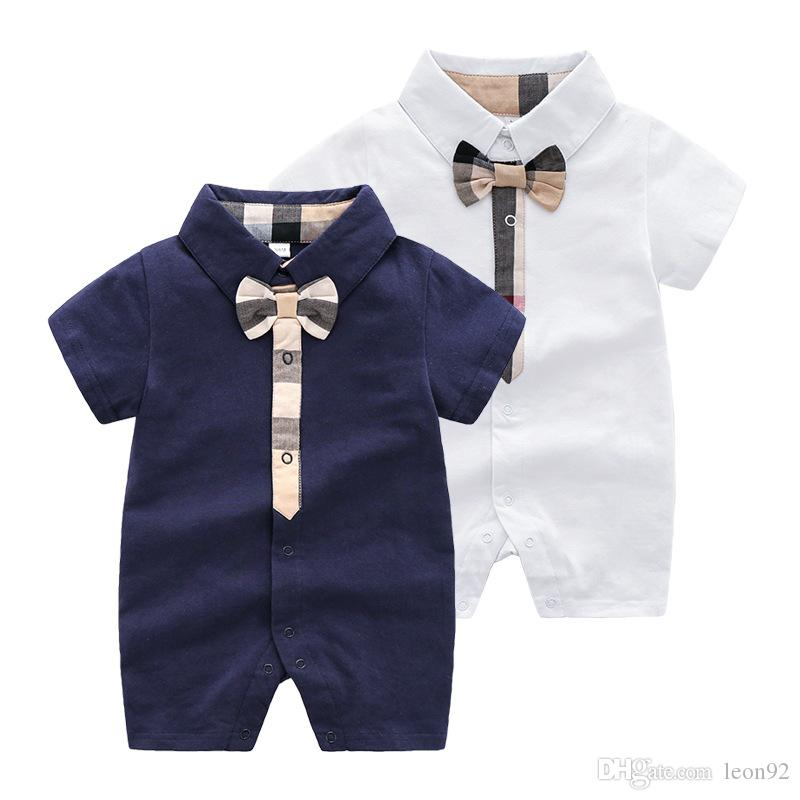 INS High End Brand Bambino Vestiti per bambini Plaid Bow Pagliaccetto Body Outfit Cotton Newborn Summer Manica Corta Pagliaccetto Bambini Designer Bullsuits