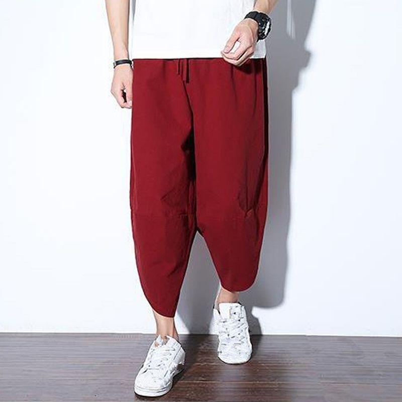 Bahar Çin Stil Buzağı-Uzunluk Pamuk Keten Pantolon Pantolon Jogger Pantolon Serbest İpli Streetwear