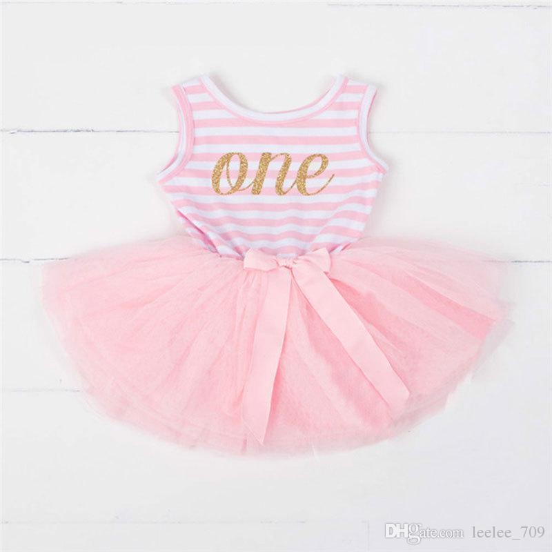 Vestido de bebé Princesa del primer cumpleaños Ropa para niños Carta dorada de la corona Vestido de tutú para niñas con arco Cumpleaños Traje de niño pequeño