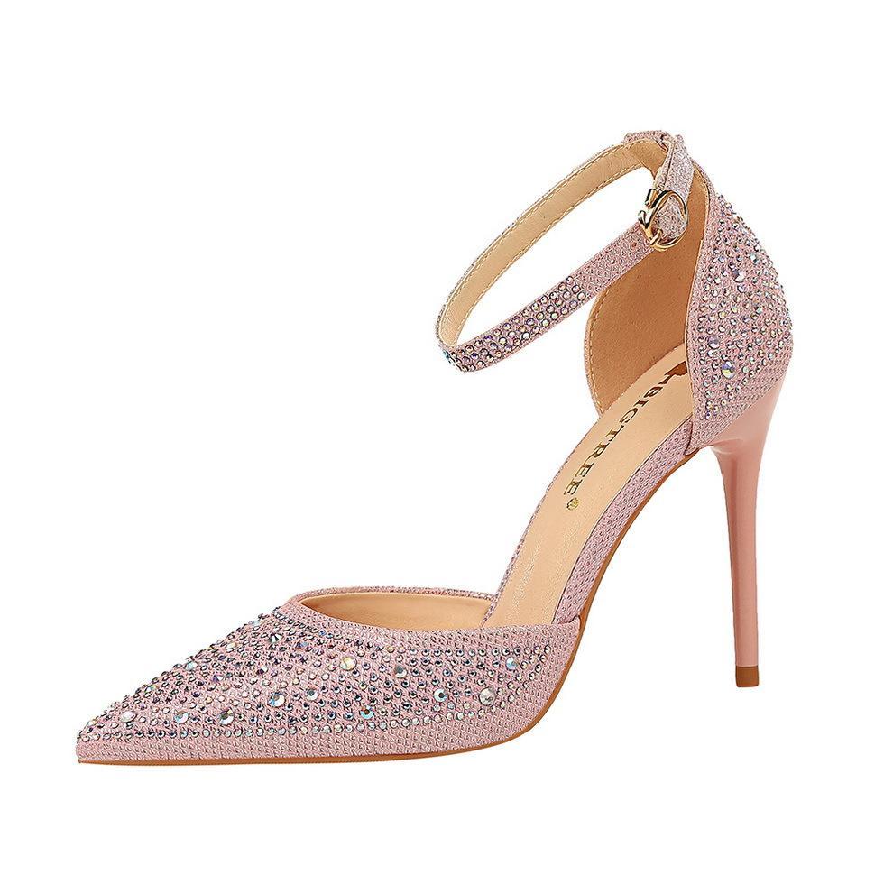 la boca de aguja de tacones altos zapatos de la boda poco profunda Señora lentejuelas señaló hueco diamantes de imitación mujeres de las bombas de 7 colores 283-16
