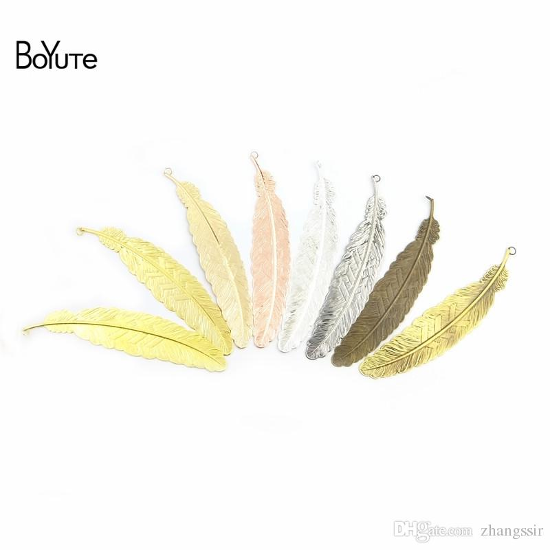 BoYuTe Factory Direct Wholesale 20Pcs 110*24MM Metal Brass Stamping Plate Big Feather BookMark with Loop Diy Handmade Jewelry Accessories