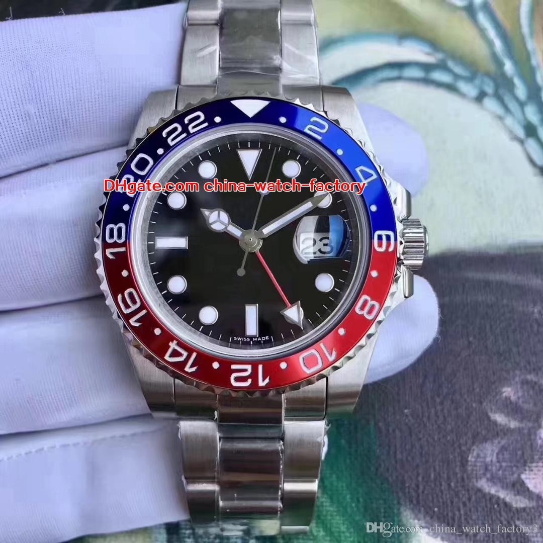 최고 품질 BP 버전 40mm GMT 116719 116719BLRO 펩시 세라믹 베젤 베젤 아시아 2813 스위스 ETA 2836 무브먼트 자동 남성 시계 시계