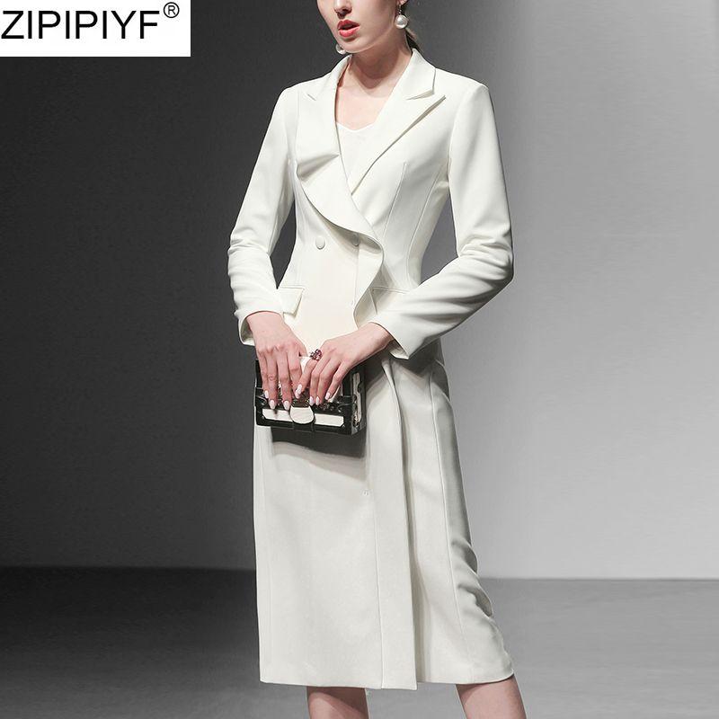 2020 New Fashion long Trench Femmes Printemps volantée à manches longues Haut-vêtement Turn Casual Col Bas Femme Slim Manteaux