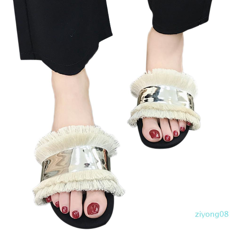 SAGACE Mulheres Chinelos Flats Fringe Sandals Deslizamento em Sandals Ladies Beach Chinelos de Moda de Nova Feminino Casual Z08 Estilo Slipper