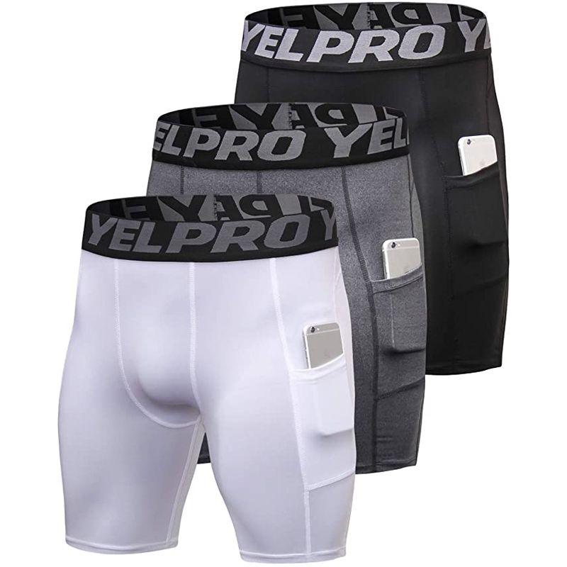Бесплатная доставка мужчины спорт тренажерный зал брюки компрессионный телефон боковой карман короткие быстросохнущие спортивные твердые колготки шорты бег леггинсы йога брюки X128FZ
