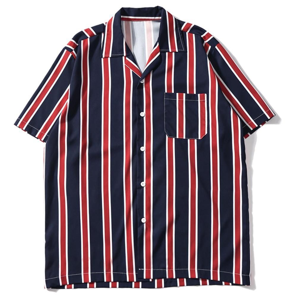 Camicia Uomo Tasche Bottoni Casual Patchwork Manica corta Top a righe Camicie casual allentate Moda estiva S-2XL